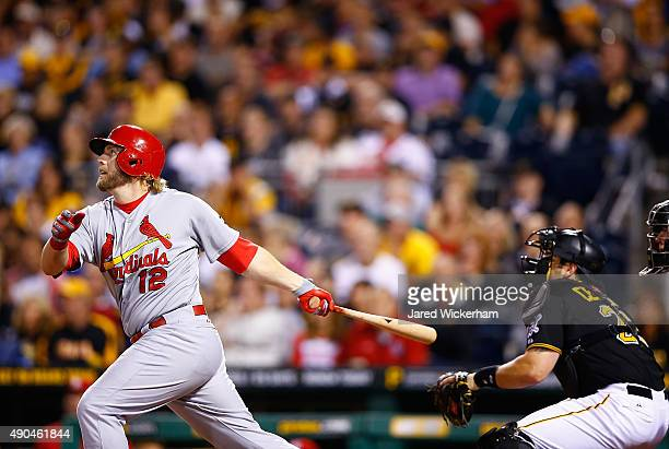 Mark Reynolds of the St Louis Cardinals hits a two run home run in the 9th inning against the Pittsburgh Pirates during the game at PNC Park on...