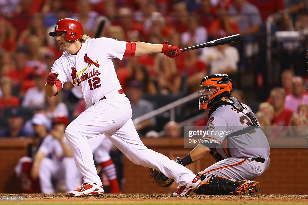 Mark Reynolds #12 of the St. Louis Cardinals knocks in the game-winning run against the San Francisco Giants in the eighth inning at Busch Stadium on August 17, 2015 in St. Louis, Missouri.