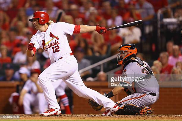 Mark Reynolds of the St Louis Cardinals knocks in the gamewinning run against the San Francisco Giants in the eighth inning at Busch Stadium on...