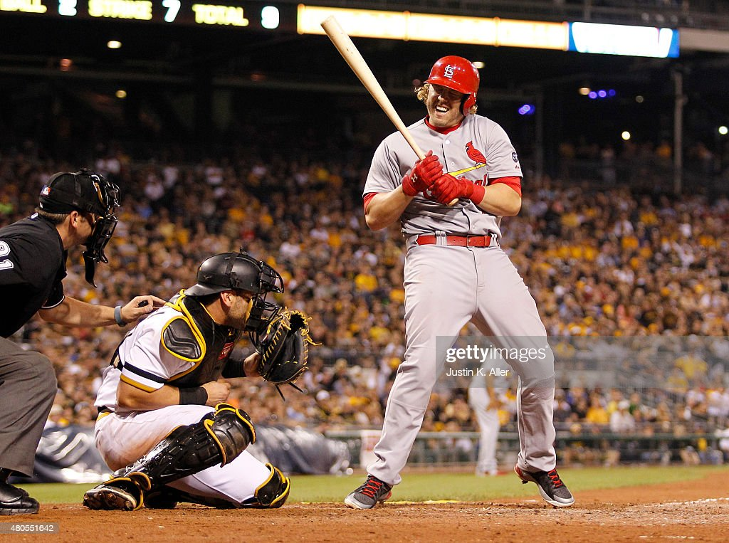<a gi-track='captionPersonalityLinkClicked' href=/galleries/search?phrase=Mark+Reynolds+-+Baseball+Player&family=editorial&specificpeople=2343799 ng-click='$event.stopPropagation()'>Mark Reynolds</a> #12 of the St. Louis Cardinals reacts after being hit by a pitch in the tenth inning during the game against the Pittsburgh Pirates at PNC Park on July 12, 2015 in Pittsburgh, Pennsylvania.