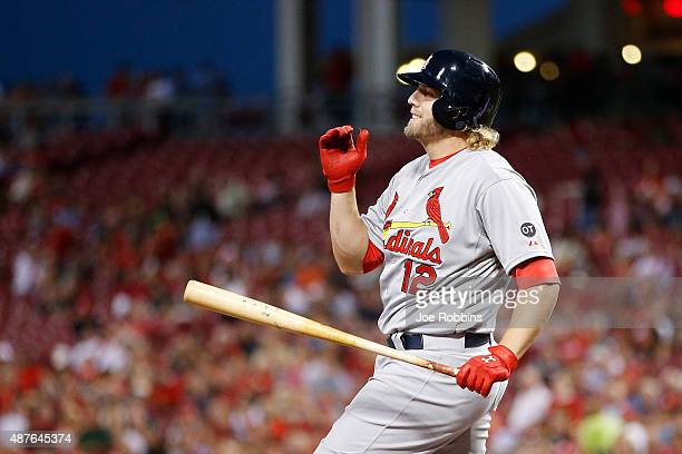 Mark Reynolds of the St Louis Cardinals reacts after striking out in the third inning against the Cincinnati Reds at Great American Ball Park on...