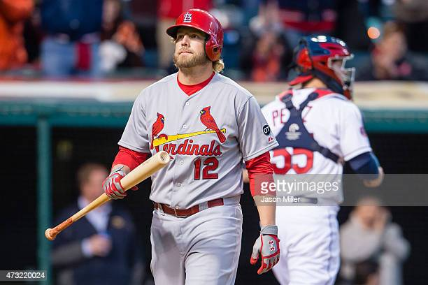 Mark Reynolds of the St Louis Cardinals reacts after striking out to end the top of the eighth inning against the Cleveland Indians at Progressive...