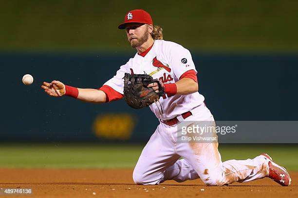 Mark Reynolds of the St Louis Cardinals throws the ball to first for an out against the Cincinnati Reds at Busch Stadium on September 23 2015 in St...