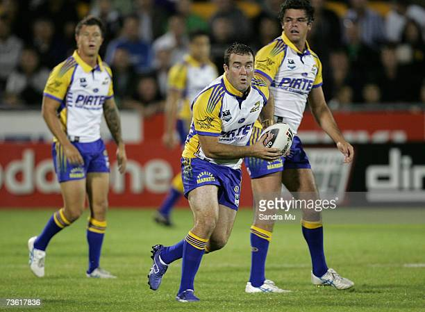 Mark Riddell of Paramatta looks for support during the round one NRL match between the Warriors and the Parramatta Eels at Mount Smart Stadium March...