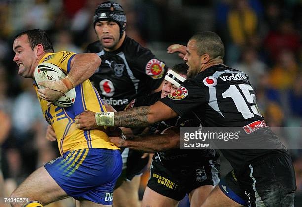 Mark Riddell of the Eels tries to get away from the Warriors during the round 11 NRL match between the Parramatta Eels and the Warriors at Parramatta...