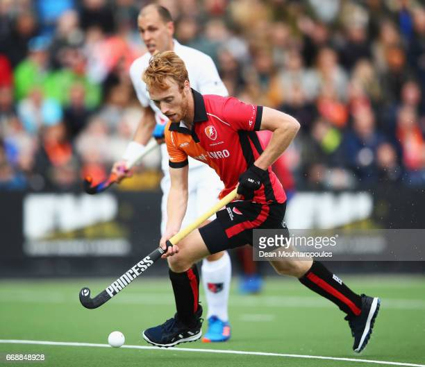 Mark Rijkers of HC OranjeRood in action during the Euro Hockey League KO16 match between HC OranjeRood and AH BC Amsterdam at held at HC OranjeRood...