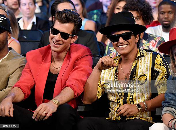 Mark Ronson and Bruno Mars accept award onstage during the 2015 MTV Video Music Awards at Microsoft Theater on August 30 2015 in Los Angeles...