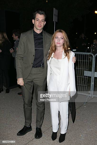 Mark Ronson and Josephine de La baume arrive at the HM fashion show during Paris Fashion Week Fall Winter 2015/2016 on March 4 2015 in Paris France