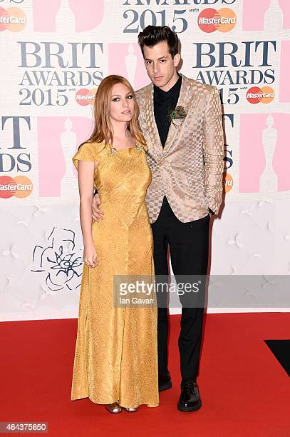 Mark Ronson and Josephine de la Baume attend the BRIT Awards 2015 at The O2 Arena on February 25 2015 in London England