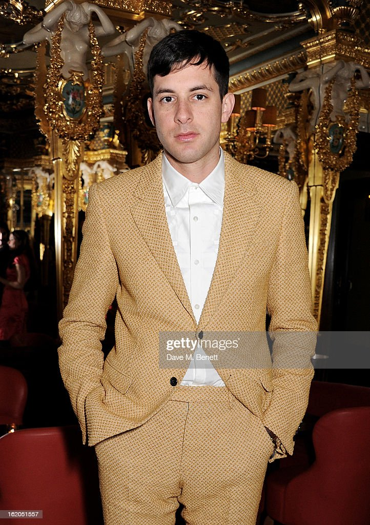 Mark Ronson attends the AnOther Magazine and Dazed & Confused party with Belvedere Vodka at the Cafe Royal hotel on February 18, 2013 in London, England.