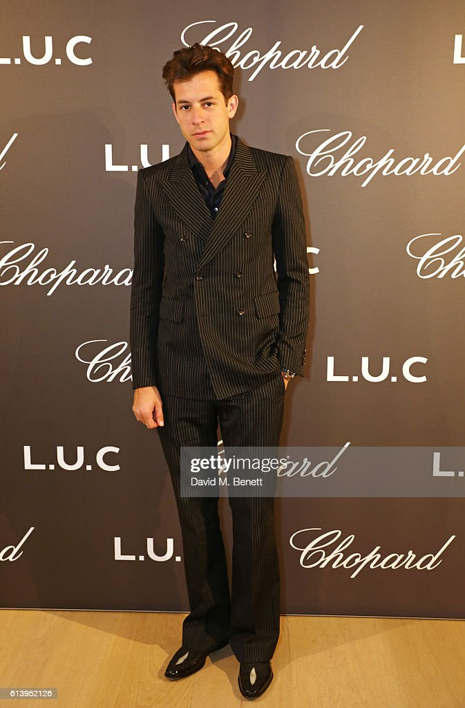 Mark Ronson attends the cocktail opening of the Chopard exhibition 'L.U.C - L'art d'une Manufacture' at Phillips Gallery on October 11, 2016 in London, England.