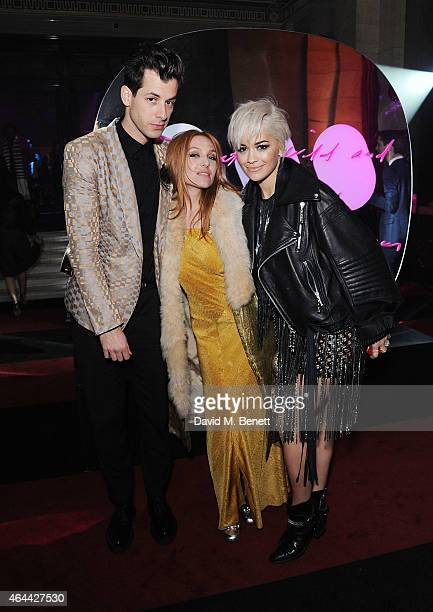 Mark Ronson Josephine de La Baume and Rita Ora attend The Warner Music Brit Party 2015 at Freemasons Hall on February 25 2015 in London England