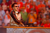 Mark Ronson performs during the Pepsi Super Bowl 50 Halftime Show at Levi's Stadium on February 7 2016 in Santa Clara California