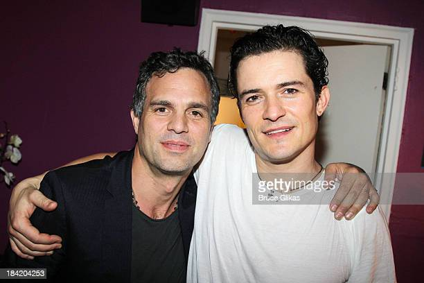 Mark Ruffalo and Orlando Bloom pose backstage at 'Romeo and Juliet' on Broadway at The Richard Rogers Theater on October 11 2013 in New York City