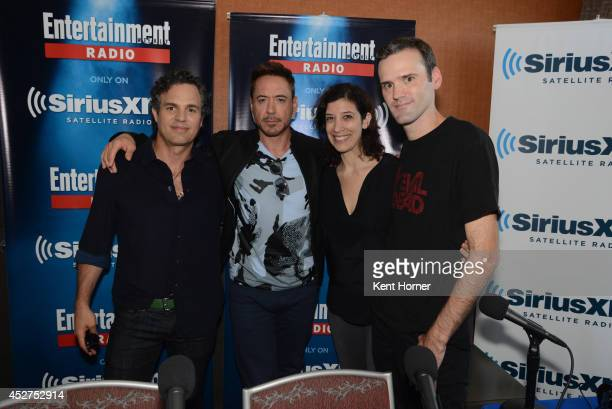 Mark Ruffalo and Robert Downey Jr pose with radio hosts Jessica Shaw and Dalton Ross after being interviewed on SiriusXM's Entertainment Weekly Radio...