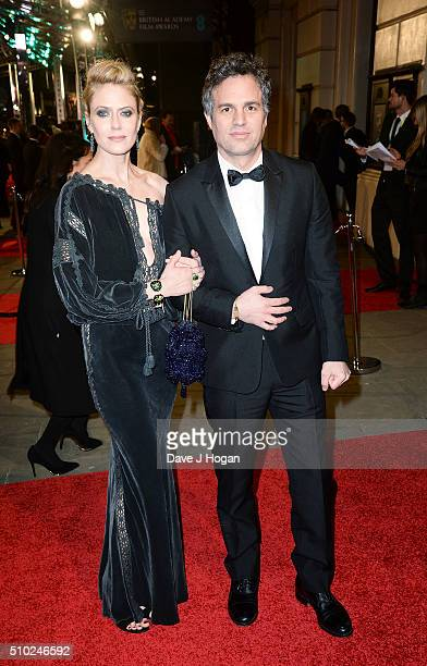 Mark Ruffalo and Sunrise Coigney attend the EE British Academy Film Awards at The Royal Opera House on February 14 2016 in London England