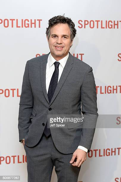 Mark Ruffalo arrives for the UK Premiere of Spotlight at The Washington Mayfair on January 20 2016 in London England