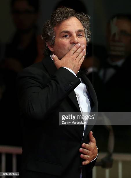 Mark Ruffalo gives a kiss to the crowd at the premiere of 'Looking For Grace' during the 72nd Venice Film Festival on September 3 2015 in Venice Italy