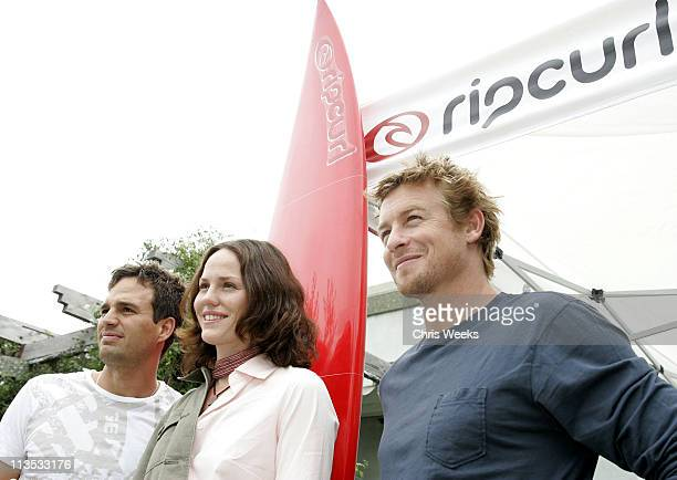 Mark Ruffalo Jorja Fox and Simon Baker during Rip Curl Malibu Pro Press Conference at Granita in Malibu California United States