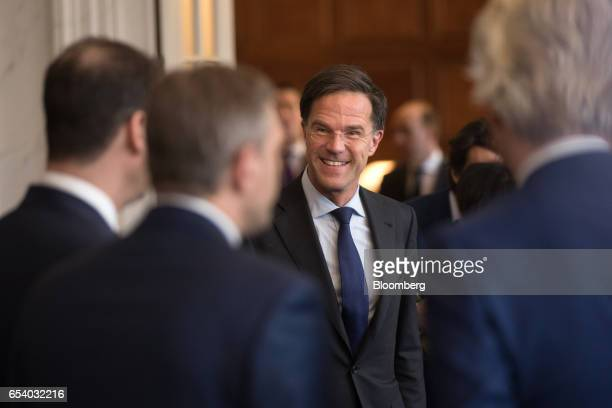 Mark Rutte Dutch prime minister and leader of the Liberal Party arrives for a meeting at the House of Representatives at the Dutch Parliament...