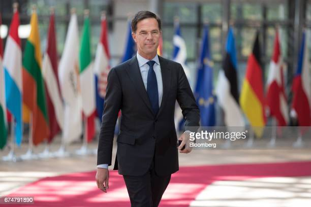Mark Rutte Dutch prime minister arrives for a European Union leaders emergency Brexit summit at the Europa building in Brussels Belgium on Saturday...
