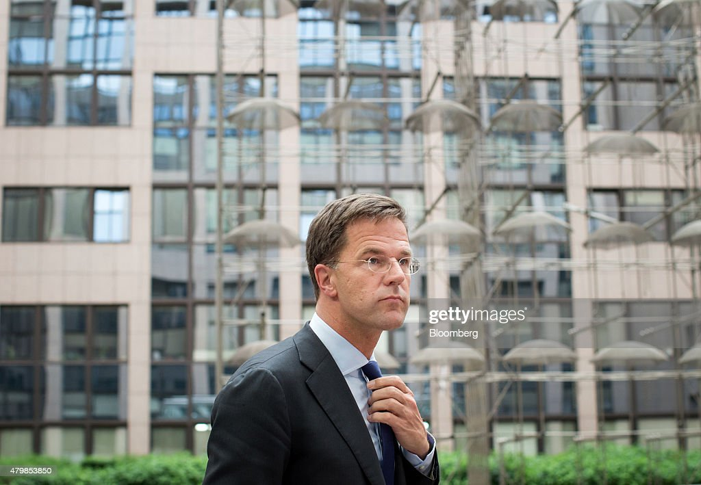 Mark Rutte Dutch prime minister arrives for an emergency Greek summit with European leaders in Brussels Belgium on Tuesday July 7 2015 Greece steered...