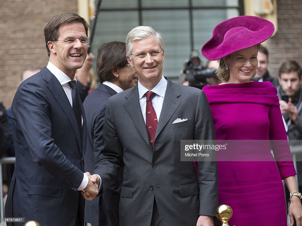 Mark Rutte, King Philippe of Belgium and Queen Mathilde of Belgium during an official visit to The Netherlands on November 8, 2013 in The Hague, Netherlands.