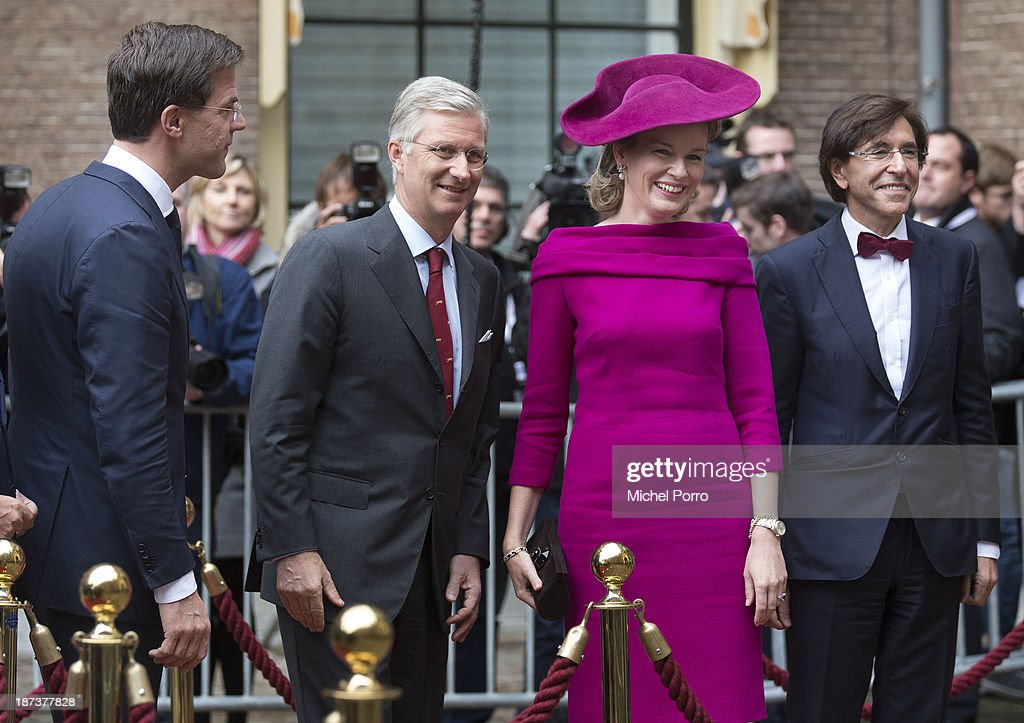 <a gi-track='captionPersonalityLinkClicked' href=/galleries/search?phrase=Mark+Rutte&family=editorial&specificpeople=4509362 ng-click='$event.stopPropagation()'>Mark Rutte</a>, King <a gi-track='captionPersonalityLinkClicked' href=/galleries/search?phrase=Philippe+of+Belgium&family=editorial&specificpeople=160209 ng-click='$event.stopPropagation()'>Philippe of Belgium</a>, <a gi-track='captionPersonalityLinkClicked' href=/galleries/search?phrase=Queen+Mathilde+of+Belgium&family=editorial&specificpeople=239189 ng-click='$event.stopPropagation()'>Queen Mathilde of Belgium</a> and Elio de Rupo meet at the Binnenhof Parliament Square during an official visit to The Netherlands on November 8, 2013 in The Hague, Netherlands.