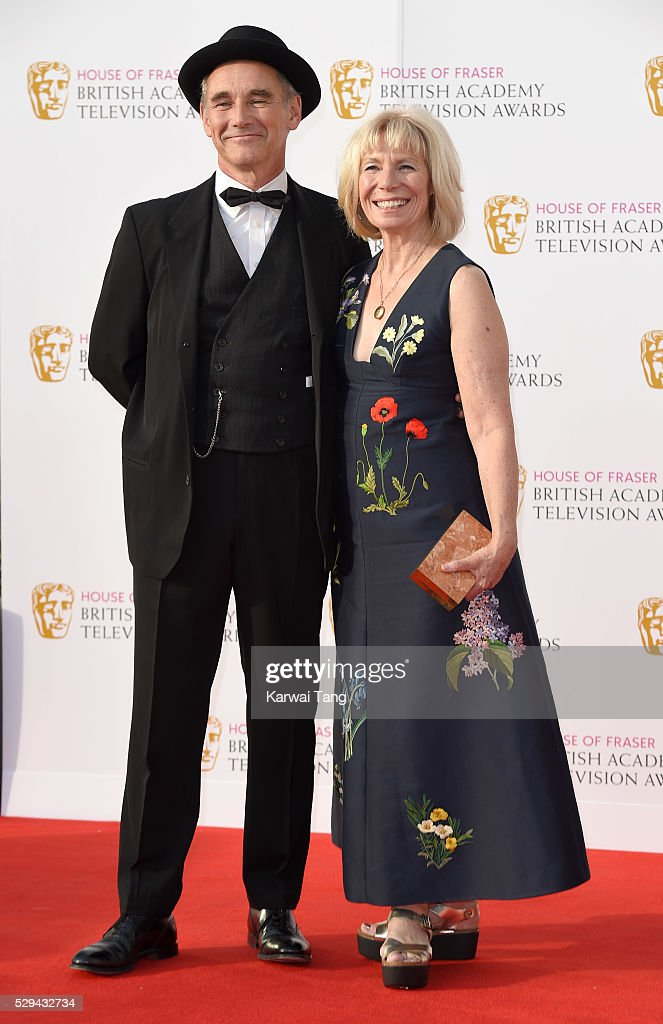 Mark Rylance and Claire van Kampen arrive for the House Of Fraser British Academy Television Awards 2016 at the Royal Festival Hall on May 8, 2016 in London, England.