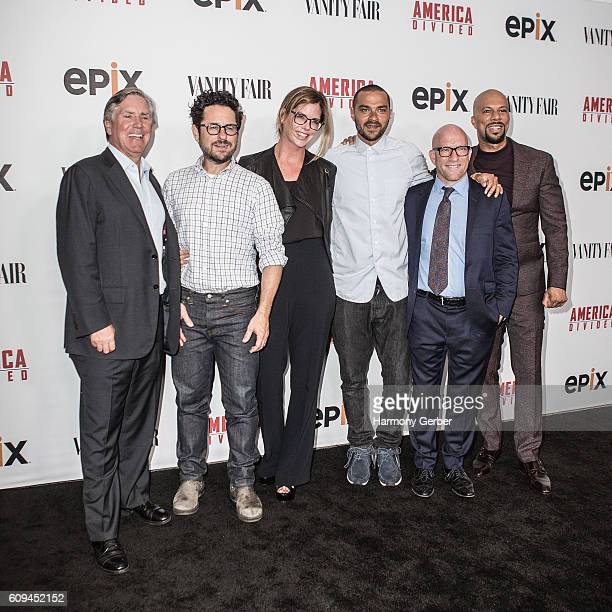 Mark S Greenberg JJ Abrams Katie McGrath Jesse Williams Solly Granatstein and Common attend the Premiere Of Epix's 'America Divided' at Billy Wilder...