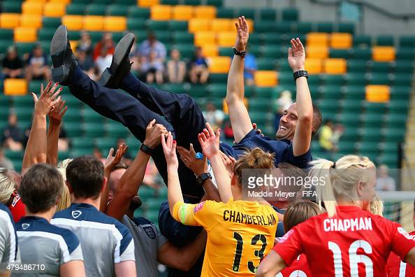 Mark Sampson coach of England celebrates his teams 10 win over Germany in the FIFA Women's World Cup 2015 third place playoff match at Commonwealth...