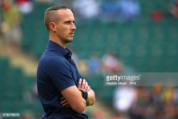 Mark Sampson coach of England looks on during the FIFA Women's World Cup 2015 third place playoff match between Germany and England at Commonwealth...