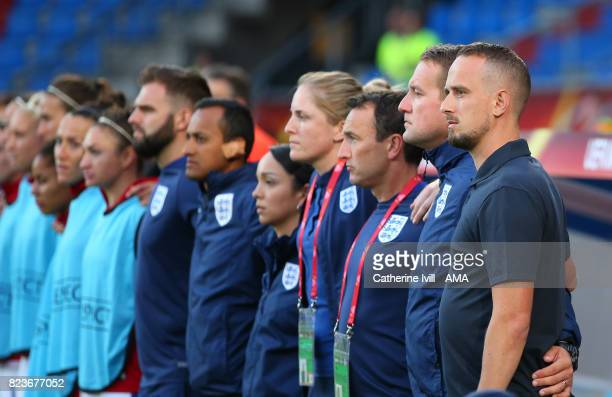 Mark Sampson manager / head coach of England Women stands with his staff before the UEFA Women's Euro 2017 match between Portugal and England at...