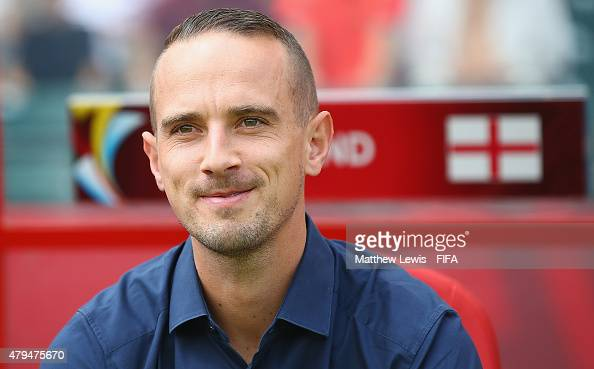 Mark Sampson of England looks on during the FIFA Women's World Cup 2015 Third Place Playoff match between Germany and England at Commonwealth Stadium...