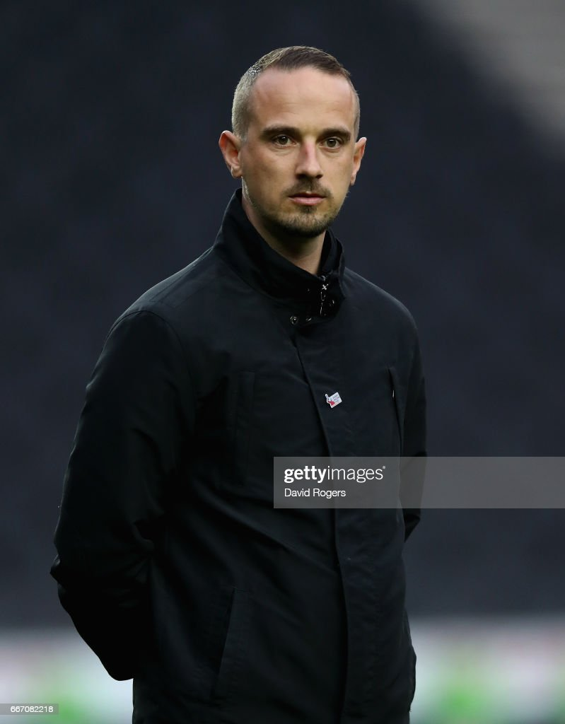 Mark Sampson, the England manager looks on during the international friendly between England Women and Austria Wome at Stadium mk on April 10, 2017 in Milton Keynes, England.