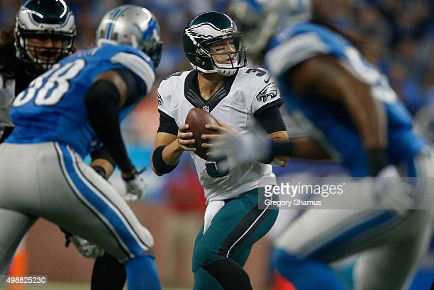 Mark Sanchez of the Philadelphia Eagles looks for an open receiver in the first quarter while playing the Detroit Lions at Ford Field on November 26...