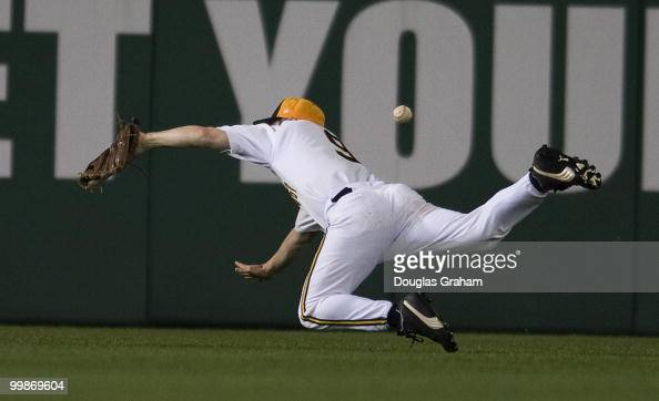 Mark Schauer DMI dives for a fly ball in center field and misses during the 48th Annual Roll Call Congressional Baseball Game on June 17 2009 at...