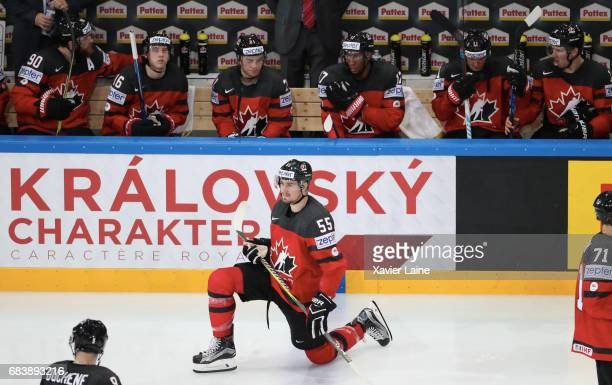 Mark Scheifele of Canada reacts with his teammattes during the 2017 IIHF Ice Hockey World Championship game between Canada and Finland at AccorHotels...