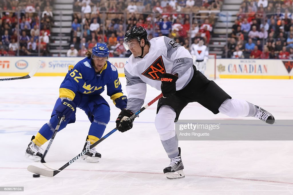 Mark Scheifele #55 of Team North America fires a slap shot on Team Sweden during the World Cup of Hockey 2016 at Air Canada Centre on September 21, 2016 in Toronto, Ontario, Canada.