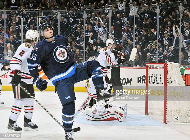 Mark Scheifele of the Winnipeg Jets celebrates his first period goal against the Chicago Blackhawks on February 6 2015 at the MTS Centre in Winnipeg...