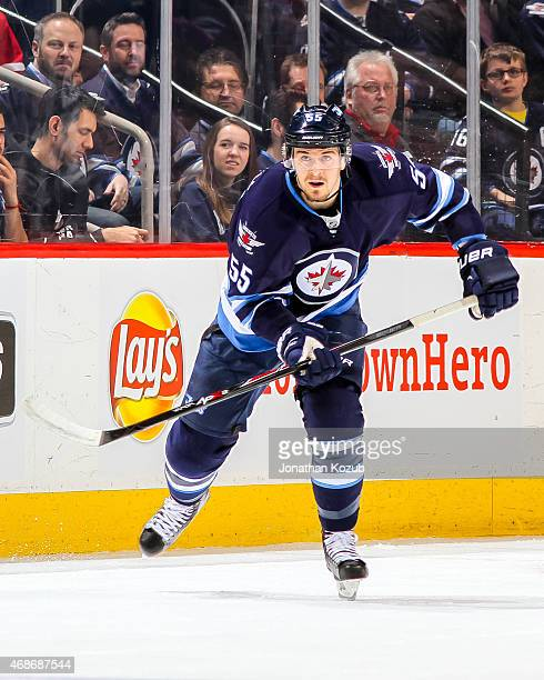 Mark Scheifele of the Winnipeg Jets follows the play down the ice during first period action against the Chicago Blackhawks on March 29 2015 at the...