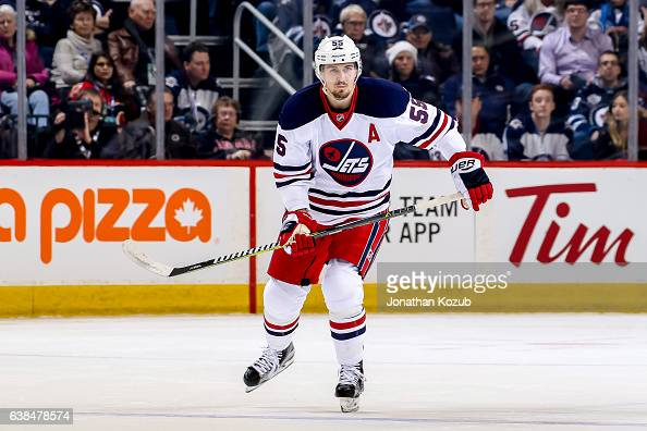 Mark Scheifele of the Winnipeg Jets follows the play down the ice during first period action against the Calgary Flames at the MTS Centre on January...