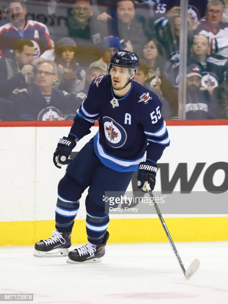 Mark Scheifele of the Winnipeg Jets follows the play down the ice during first period action against the Vegas Golden Knights at the Bell MTS Place...