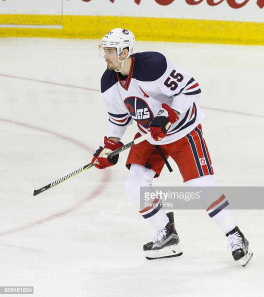 Mark Scheifele of the Winnipeg Jets follows the play up the ice during second period action against the Calgary Flames at the MTS Centre on January 9...