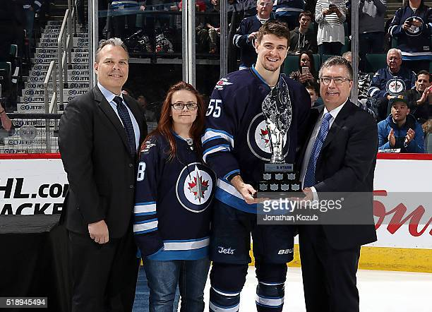 Mark Scheifele of the Winnipeg Jets is presented with the Manitoba Hydro Three Stars Award prior to NHL action against the Minnesota Wild at the MTS...