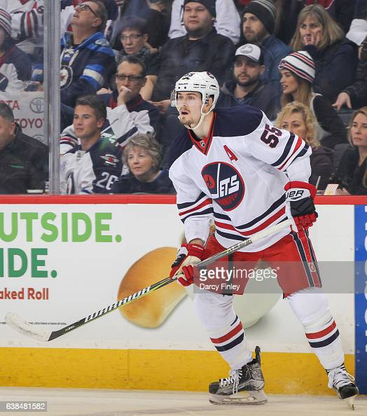 Mark Scheifele of the Winnipeg Jets keeps an eye on the play during first period action against the Calgary Flames at the MTS Centre on January 9...