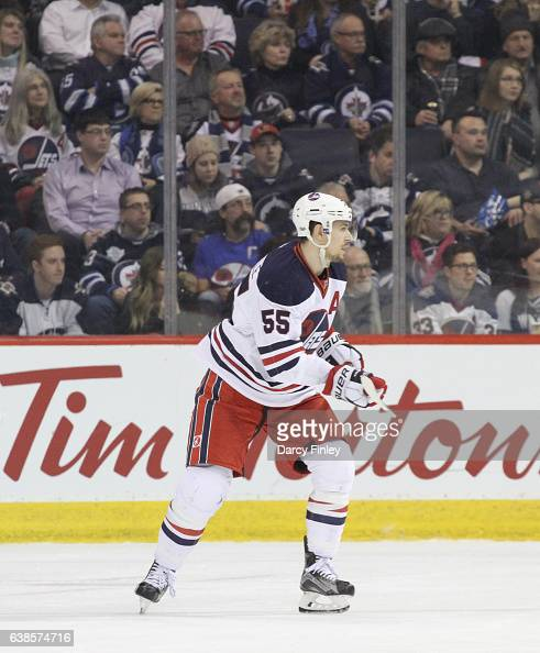 Mark Scheifele of the Winnipeg Jets keeps an eye on the play during third period action against the Calgary Flames at the MTS Centre on January 9...