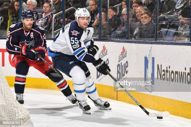 Mark Scheifele of the Winnipeg Jets skates against the Columbus Blue Jackets on April 6 2017 at Nationwide Arena in Columbus Ohio