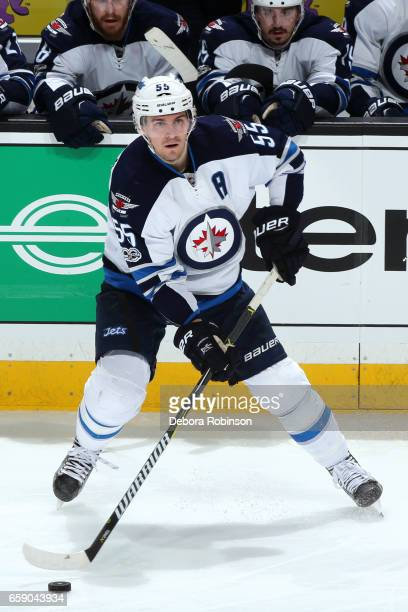 Mark Scheifele of the Winnipeg Jets skates with the puck during the game against the Anaheim Ducks on March 24 2017 at Honda Center in Anaheim...