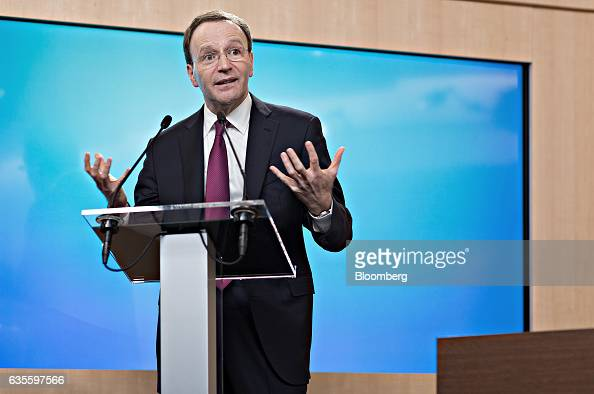 Mark Schneider chief executive officer of Nestle SA gestures as he speaks during a news conference to announce the company's fullyear results at the...